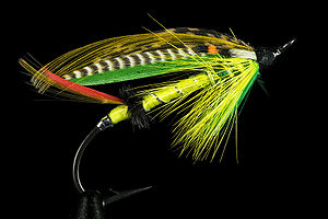 Green Highlander salmon fly. The hook length i...