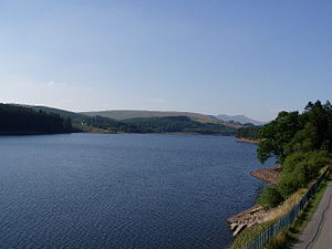 Pontsticill Reservoir. Next to the Brecon Moun...