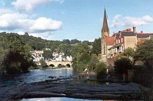 River Dee and church, Llangollen. Taken from a...