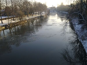 Ice on River Severn at Shrewsbury, England on ...