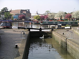 One of the two lock gates between the River Av...