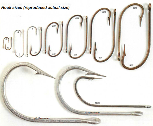 sea angling hook sizes actual size