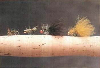 salmon flies: Hopper, Gold Head Hare's Ear, Red Bead, Gold Head Damsel