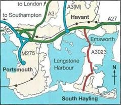 map and directions to Hayling Island