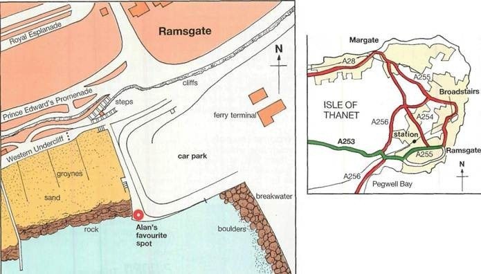 map of fishing marks in Ramsgate